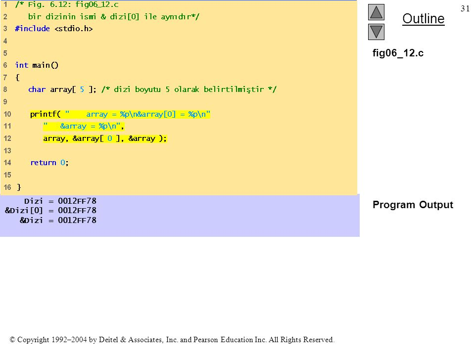 fig06_12.c Program Output Dizi = 0012FF78 &Dizi[0] = 0012FF78
